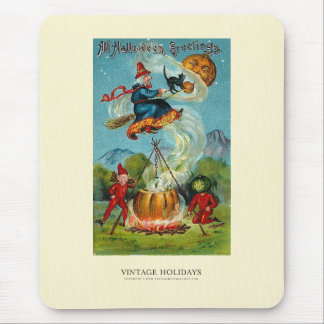 All Halloween Greetings Flying Witch Mouse Pad