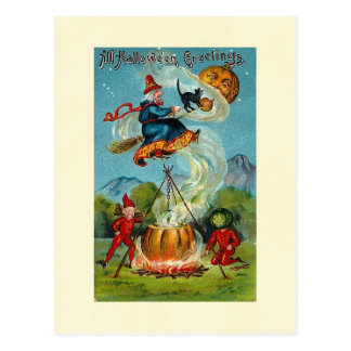 All Halloween Greetings Flying Witch Post Cards