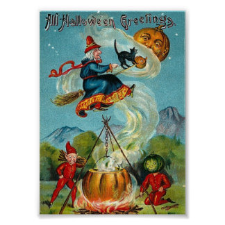 All Halloween Greetings Vintage Print