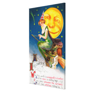 All Halloween Witch on a Broom by Full Moon Canvas Print