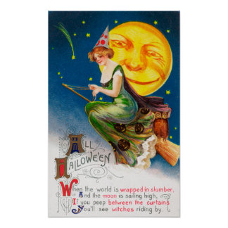 All Halloween Witch on a Broom by Full Moon Poster