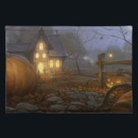"""All Hallows Eve Fall Placemat<br><div class=""""desc"""">This gorgeous cloth placemat has a Halloween trick or treat scene with a pumpkin patch on it. It is one of several Halloween placemats available from Superkalifragilistic.</div>"""