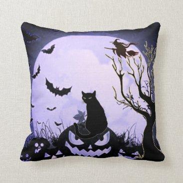 Halloween Themed All Hallows Eve Purple Throw Pillow
