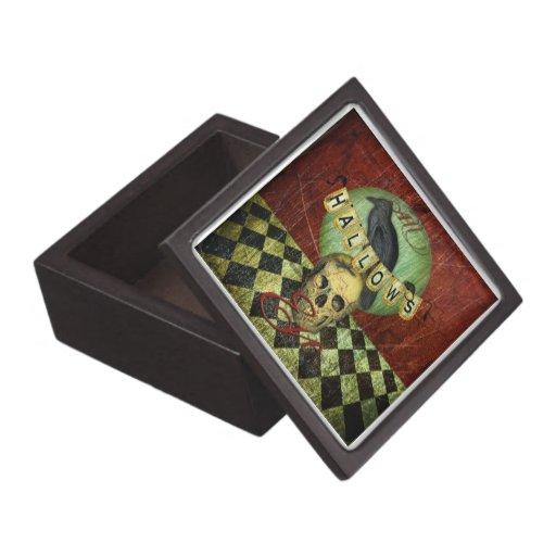 All Hallows Eve skull and raven Box Premium Jewelry Box
