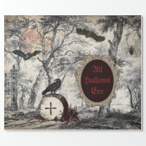ALL HALLOW'S EVE VINTAGE HALLOWEEN DECOUPAGE WRAPPING PAPER