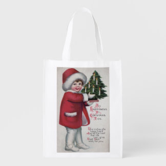 All Happiness at Christmas Tide Reusable Grocery Bag