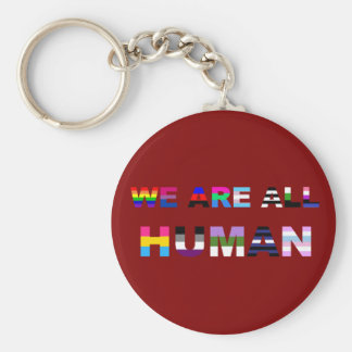 All Human Red Basic Round Button Keychain