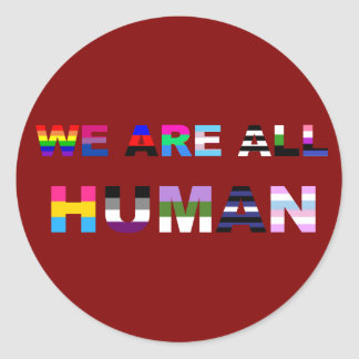 All Human Red Classic Round Sticker