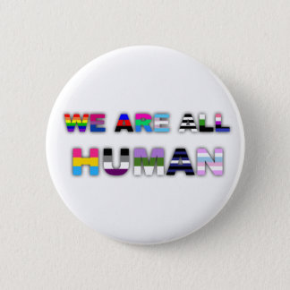 All Human White Pinback Button