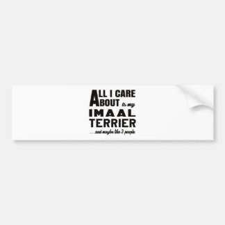 All i care about is my Imaal Terrier. Car Bumper Sticker