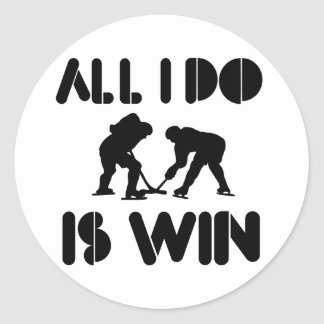 All I Do Is Win At Icehockey Classic Round Sticker