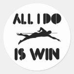 All I Do Is Win At Swim Classic Round Sticker