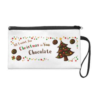 All I need for christmas is chocolate bag Wristlets