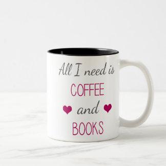 All I Need Is Coffee and Books Two-Tone Coffee Mug