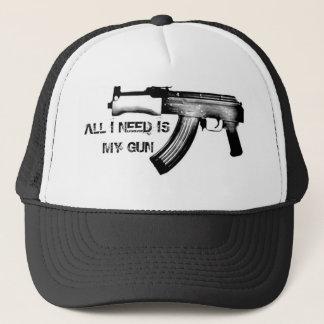 ALL I NEED IS MY GUN TRUCKER HAT