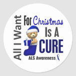 All I Want For Christmas ALS Round Sticker