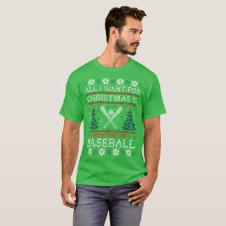 All I Want For Christmas Baseball Ugly Sweater Tee