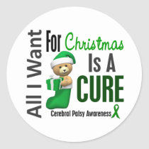 All I Want For Christmas Cerebral Palsy Classic Round Sticker