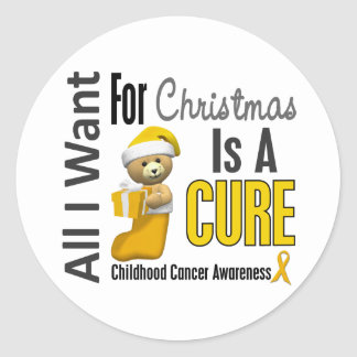 All I Want For Christmas Childhood Cancer Classic Round Sticker