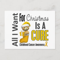 All I Want For Christmas Childhood Cancer Holiday Postcard