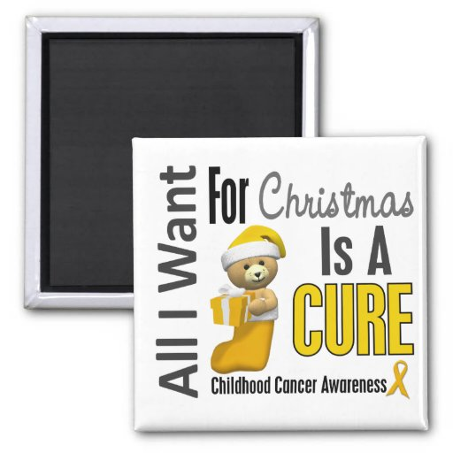 All I Want For Christmas Childhood Cancer 2 Inch Square Magnet