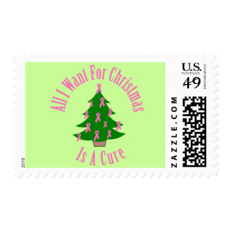 All I Want For Christmas Is A Cure (Pink Ribbon) Stamp