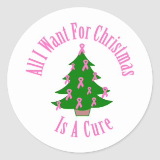 All I Want For Christmas Is A Cure (Pink Ribbon) Round Sticker