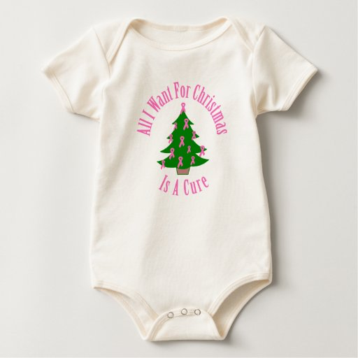 All I Want For Christmas Is A Cure (Pink Ribbon) Rompers