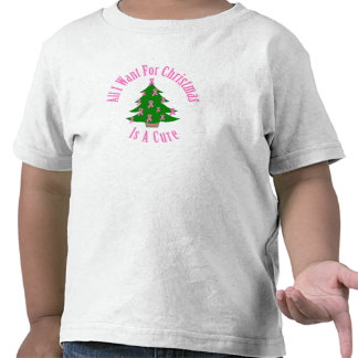 All I Want For Christmas Is A Cure (Pink Ribbon) Tees