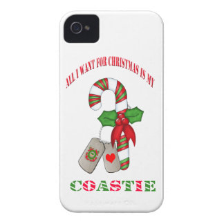 All I Want For Christmas Is My Coastie Blackberry  Case-Mate iPhone 4 Case