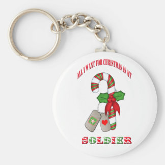All I Want For Christmas Is My Soldier Basic Round Button Keychain