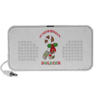 All I Want For Christmas Is My Soldier Doodle Spea iPod Speakers