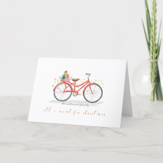 All I Want For Christmas Is You Red Vintage Bike Holiday Card Zazzle Com