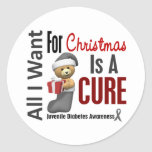 All I Want For Christmas Juvenile Diabetes Round Stickers