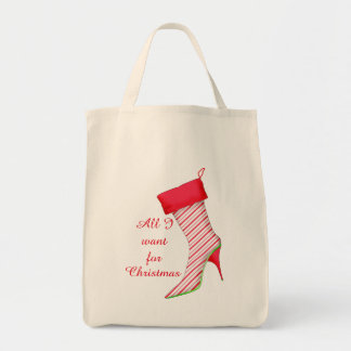 All I Want For Christmas Peppermint Boot Stocking Tote Bag