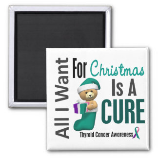 All I Want For Christmas Thyroid Cancer 2 Inch Square Magnet