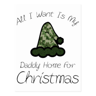 All I Want Is My Daddy Home For Christmas Postcard