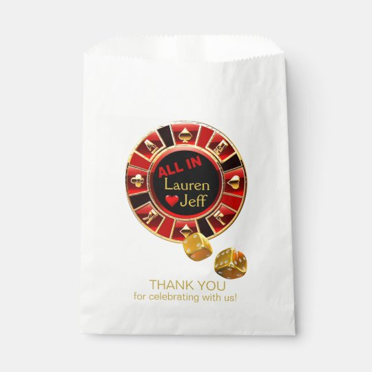 All In Casino Chip Las Vegas Style Wedding Favor Bag Zazzle