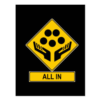 All In Caution Sign Postcard