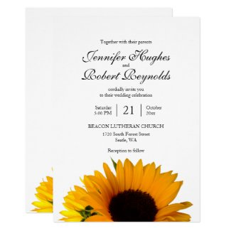 All in One Budget Rustic Sunflower Wedding Invitation