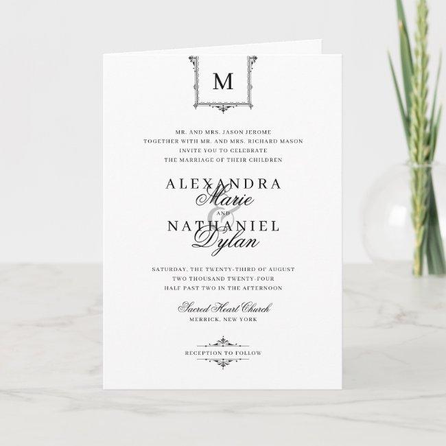 All In One Elegant Folded Vintage Monogram Wedding Invitation