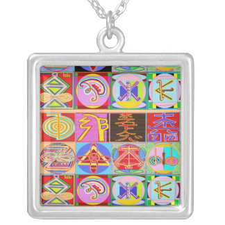 ALL IN ONE : Karuna and  Reiki Healing Symbols Square Pendant Necklace