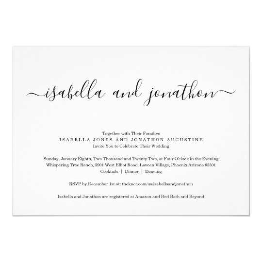 All In One Wedding Invitation With Rsvp Registry