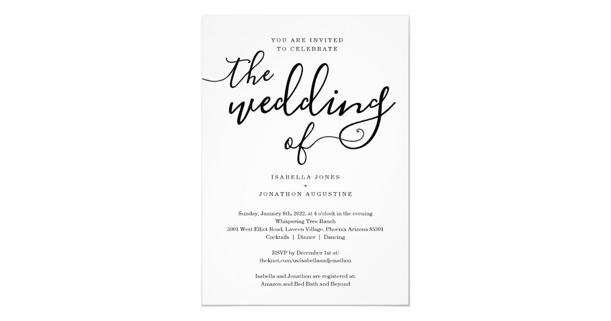 All In One Wedding Invitation With Rsvp Registry Zazzle Com