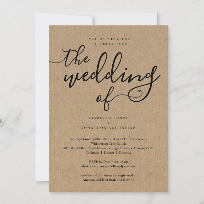 All in One Wedding Invitation with RSVP & Registry