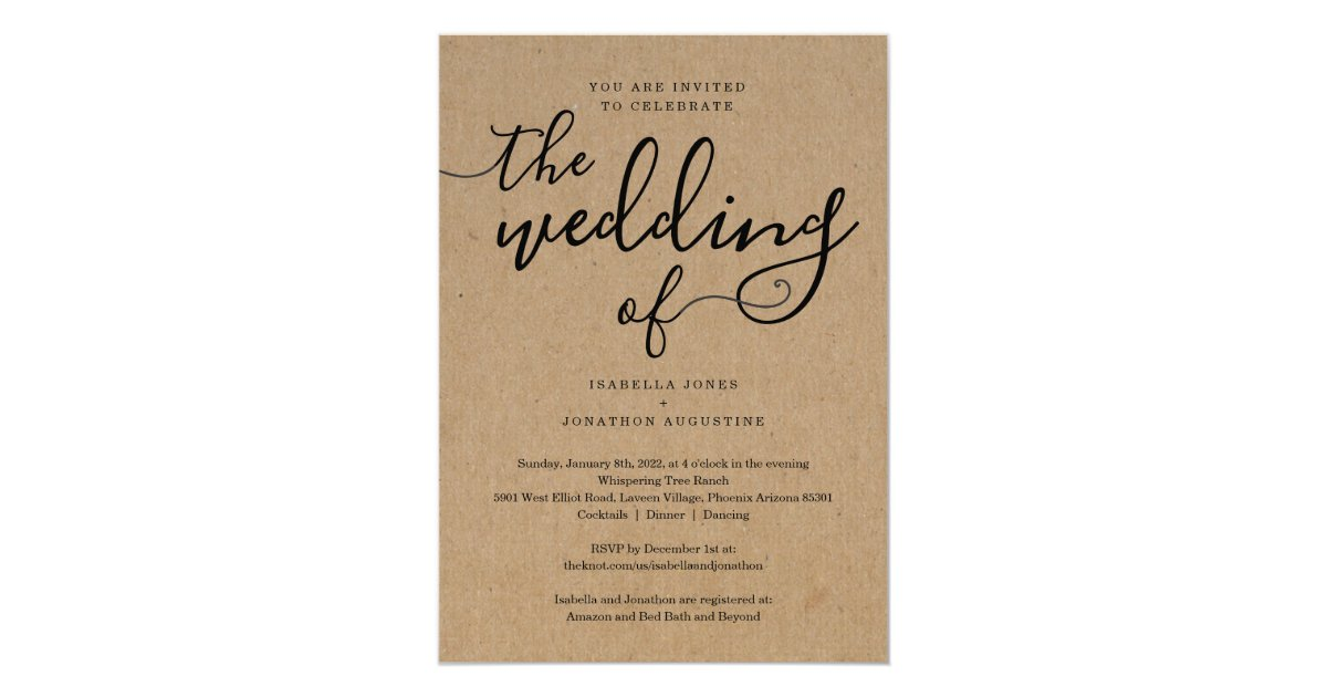 Do You Put Wedding Registry In Invitations: All In One Wedding Invitation With RSVP & Registry