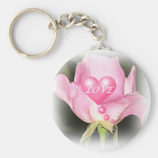 All In Pink Rose Heart Keychain