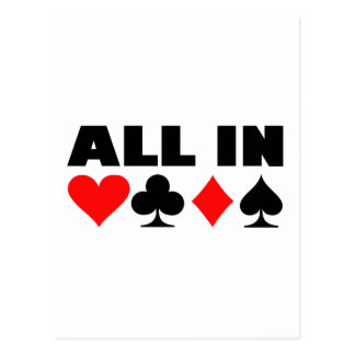 All in poker postcards