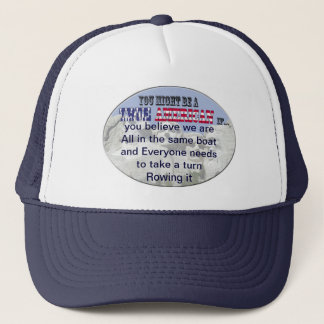 all in same boat everyone needs to row trucker hat