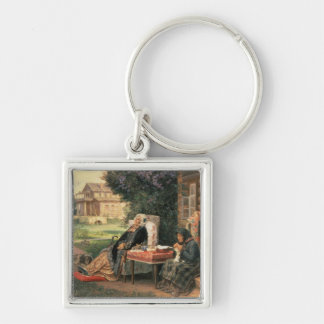 All in the Past, 1889 Silver-Colored Square Keychain